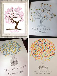 More of the fingerprint guest book idea. I would love to do one color for the brides side, and one color for the grooms side, so when the tree is complete it all blends as one family tree :)
