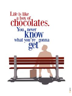 """""""Life is like a box of chocolates. You never know what you"""