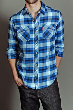 MISHKA HAND IN GLOVE FLANNEL SHIRT BLUE. Originally $79.50, now $49.99.