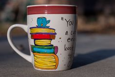 """C.S. Lewis """"You can never get a cup of tea large enough"""" Literary Quote Mug - Large gray-white and burgundy mug with book artwork"""