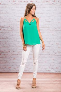 Once you have this tank you will be well on your way to looking fab! That detailed neckline is gorgeous!! The color is amazing too! It's vibrant but not too bright! This tank will look great with shorts or jeans!