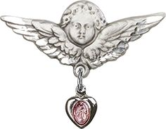 Sterling Silver Baby Badge with Pink Miraculous Charm and Angel wWings Badge Pin * Check this awesome product by going to the link at the image.