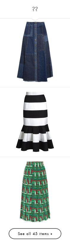 """""""长裙"""" by echo520 ❤ liked on Polyvore featuring skirts, bottoms, jeans, indigo, blue skirt, 80s skirts, a-line skirts, blue midi skirt, button down skirt and black stripe"""