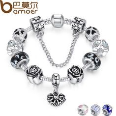 4 Colors 925 Silver Heart Charm Bracelet Silver with Safety Chain Black Beads Bracelet Authentic Jewelry PA1435