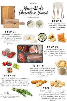 How To Build A Charcuterie Board. Easy step by step guide to creating the ultimate cheese tray. Learn how to build a beautiful charcuterie board using this step by step guide. Includes suggestions for meats, cheeses and more! Charcuterie Recipes, Charcuterie Platter, Charcuterie And Cheese Board, Cheese Boards, Meat Platter, Antipasto Platter, Cheese Board Display, Party Food Platters, Food Presentation
