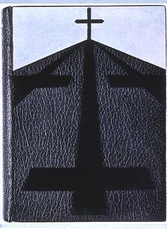 Pierre Legrain, upper cover of binding decorated with a black cross (1922), on Roland Dorgelès, Les croix de bois, illustrated by André Dunoyer de Segonzac (Paris: La Banderole, 1921).