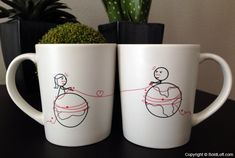 """These his and hers couple coffee mugs are a wonderful gift to show your sweetie your heart is always nearby. Perfect Valentine's Day gifts for boyfriend or husband. """"You're Worth Every Mile"""" His & Hers Coffee Mugs. $29.95 via BoldLoft."""