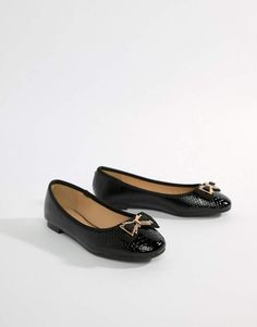 27c6d338d Head Over Heels by Dune Haze Black Snake Effect Ballerina with Bow Detail  Online Shopping Clothes