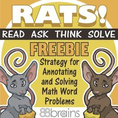 RATS! Math Word Problem Strategy FREEBIE from 88Brains Math Words, Math Strategies, Math Word Problems, 3rd Grade Math, School Resources, Critical Thinking, Rats, Back To School, Reading