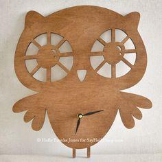 wood owl clock for a nursery
