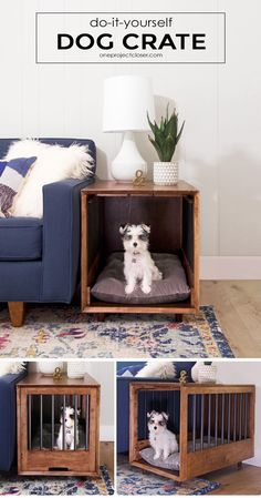 How to Build a Dog Crate That Doubles as an End-Table (Picture Tutorial) Mid-Century Modern Dog Crate and End-Table Tutorial via Jocie @ One Project Closer Dog Crate End Table, Diy Dog Crate, Dog Kennel End Table, End Table Dog Bed, Wood Dog Crate, Puppy Crate, Wood Dog Bed, Crate Bed, Diy Dog Kennel