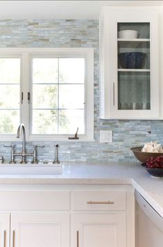 "backsplash is glass collection by ""Stone and Pewter Accents"" called Agate, color is Lucca Pearl - Beach Cottage with Beautiful Coastal Interiors"