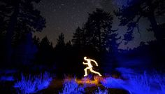 'Lightspeed', Stop-Motion Animated Light Paintings of People and Animals Moving Across Nighttime Landscapes