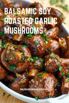 Roasted Onions, Roasted Mushrooms, Garlic Mushrooms, Mushroom And Onions, Roasted Garlic, Stuffed Mushrooms, Recipes With Soy Sauce, Garlic Recipes, Side Dish Recipes