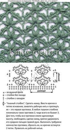 Cхема и условные обозначения для вязания крючком ажурного узора.