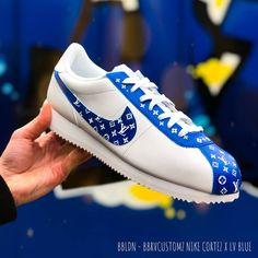 Nike cortez x Louis Vuitton customs by bbrvcustomz Best Sneakers, Custom Sneakers, Custom Shoes, Sneakers Fashion, Sneakers Nike, Converse Shoes, Travis Scott, Chica Chola, Design Nike Shoes