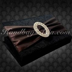 Luxury Couture Wedding Invitation Boxes. Fine Black Velvet & Chocolate Brown Silk Lace With Large Crystal Buckle. Most luxury invitation boxes available at low cost