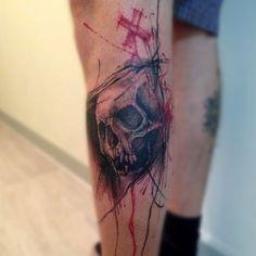 "Tattoaria no Instagram: ""Trampo foda do @ezequielromankiu #tattoaria #tatuagem #trashtattoo #trash #skull #tattoo #skulltattoo #ezequielromankiu"""