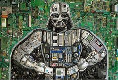 Darth Vader made out of old electronics and electronic parts.