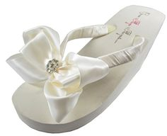 Bow Flip Flops Bridal White Womens Wedding Wedge Platform Rhinestone Satin Flip Flops 11 M US *** Check out the image by visiting the link.(This is an Amazon affiliate link)