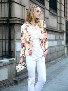 Floral Printed Long Sleeve Slim Blazer #spring #blazer #floral