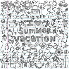 I Love Summer Vacation Tropical Doodle Vector by Blue67, via Dreamstime