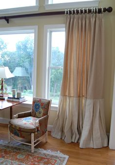 Love these linen draperies, Euro pleats with deep box pleated banding. Interior Design services by Muraca Design
