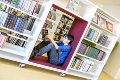Nooks inside of bookshelves make for great cave spaces for students.