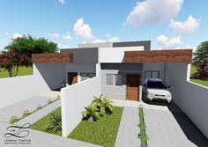 Lorena Tartas Arquitetura | Casa Geminada  - Projeto de Casa Geminada com 3 quartos, sendo um deles suítes, um banheiro social, cozinha integrada com a sala, área de lazer no fundo do lote com churrasqueira e um lavabo e área de serviço...