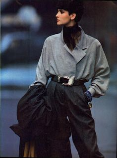 Vogue US September 1984 A New Approach... to the Season's Standout Tailoring Photographer: Hans Feurer Models: Ashley Richardson, Ariane Koizumi & Unknowns