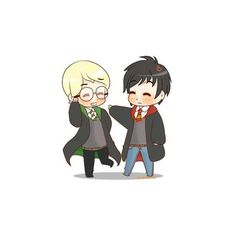 Chibi Drarry Not funny! ❤ liked on Polyvore featuring harry potter, chibi, anime, brown, doodle and scribble