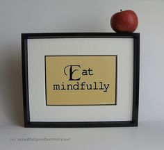 Eat Mindfully print - typographical kitchen prints - yellow, black and white