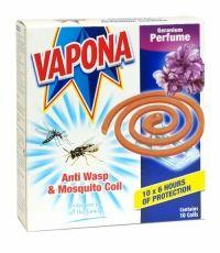 VAPONA ANTI WASP & MOSQUITO COIL 10 PACK GERANIUM PERFUME