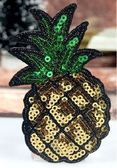 """Pineapple - Fruit - Tropical - Sequin Iron On Applique Patch - 3-3/8""""H #Unbranded"""