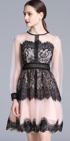 Elegant Lace Stitching O-Neck Long Sleeve Skater Dress