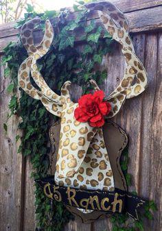 Screen Leopard Print with Red Rose Deer Mount Door by doornament