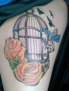 tatouage tatoo cage oiseau 38 tatouage fleur pinterest. Black Bedroom Furniture Sets. Home Design Ideas