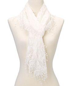 Look at this #zulilyfind! White Leaf Lace Crochet-Trim Scarf #zulilyfinds