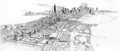 Carlos Diniz, architectural illustrator 1928-2001 / Chicago / via reas
