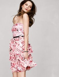 White House Black Market Pink and White Floral Dress