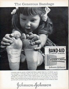 "Description: 1961 JOHNSON & JOHNSON vintage magazine advertisement ""The Generous Bandage"" -- A Band-Aid Plastic Strip Extra-Large equals three regular size bandages. It willingly takes on the big jobs -- the damaged elbows and knees -- the larger cuts and scrapes. Never deserts you in your need because Super-Stick won't loosen even in water. -- Size: The dimensions of the full-page advertisement are approximately 10.5 inches x 13.5 inches (26.75 cm x 34.25 cm). Condition: This original ..."