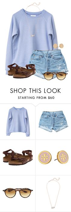 """Eating Candy"" by flroasburn on Polyvore featuring Levi's, Birkenstock, Tory Burch, Ray-Ban and Kendra Scott"