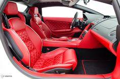 2009 Lamborghini Gallardo red and black interior grey piping diamond stitch