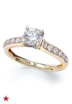 Divine sparkle. Make the moment magical with this round-shape diamond (1 ct. t.w.) halo engagement ring. Set in 14k white gold or 14k gold. | 1 Carat Diamond Engagement Ring | Diamond Color Rating Cod Gold Engagement Rings, Diamond Wedding Rings, Bridal Rings, Bridal Accessories, Jewelry Accessories, Jewelry Rings, Fine Jewelry, Jewelry Making, Gold Diamond Rings