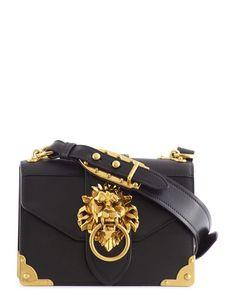 Prada | Black Cahier Lion Head Leather Bag | Lyst