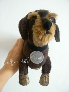 Wirehaired dachshund dog, handmade fabric sift toy of pet