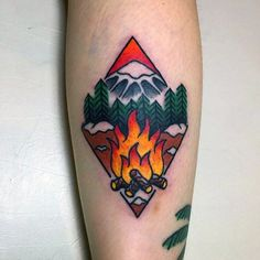 50 Campfire Tattoo Designs for Men – Great Outdoors Ink Ideas - Tattoo Style Old School Tattoo Designs, Tattoo Designs Men, Tattoos For Guys, Cool Tattoos, New Tattoos, Pinterest Home Decor Ideas, Camp Fire Tattoo, Outdoor Tattoo, Traditional Tattoo Art