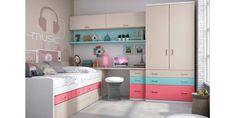 Children's room with compact (nest drawers) - Home Decor ideas Kids Bedroom Sets, Teen Girl Bedrooms, Baby Bedroom, Room Decor Bedroom, Home Room Design, Kids Room Design, Awesome Bedrooms, Dream Rooms, Girl Room