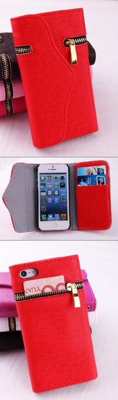 Bright and bold, this functional cover will definitely make heads turn! This sturdy leather case provides slots for your credit cards and ID, a zippered pocket for your cash and coins, and it snaps shut and stays shut. Flip it on its side and use it as a stand for your iPhone. Best of all the case design doesn't interfere with any of your phones function and also has a cutout for your camera so you don't ever have to take it out of the case!