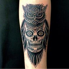 Owl sugar skull tattoo